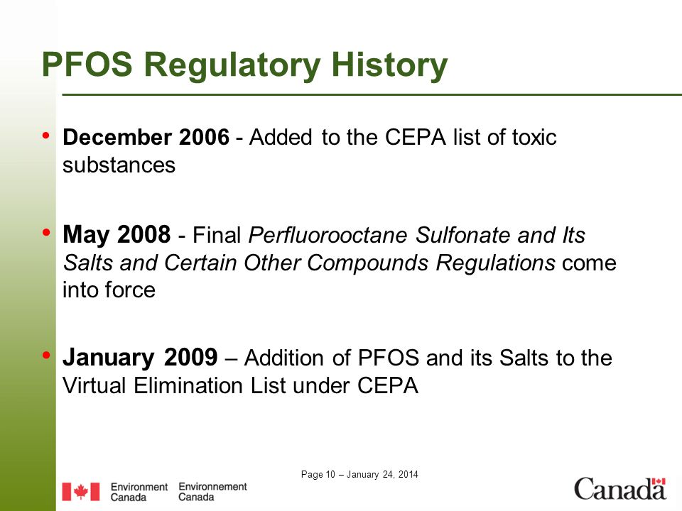 PFOS Regulatory History