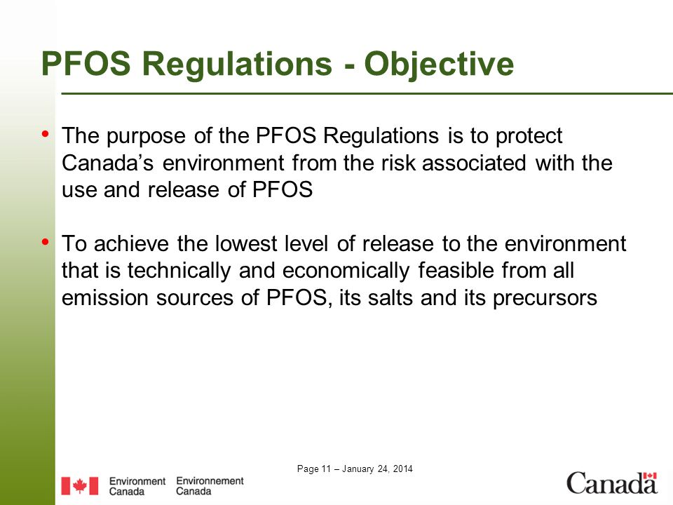 PFOS Regulations - Objective