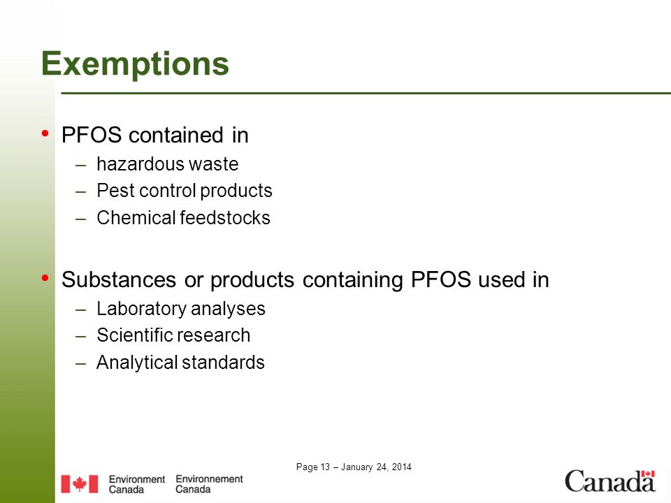 Exemptions PFOS contained in