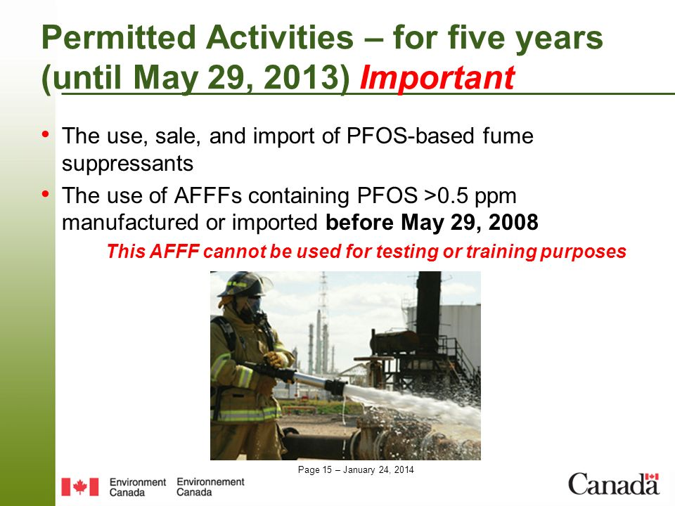 Permitted Activities – for five years (until May 29, 2013) Important