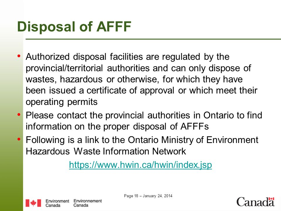 Disposal of AFFF