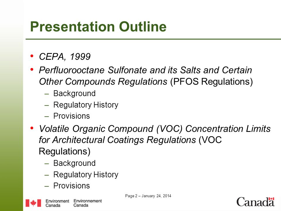 Presentation Outline CEPA, 1999