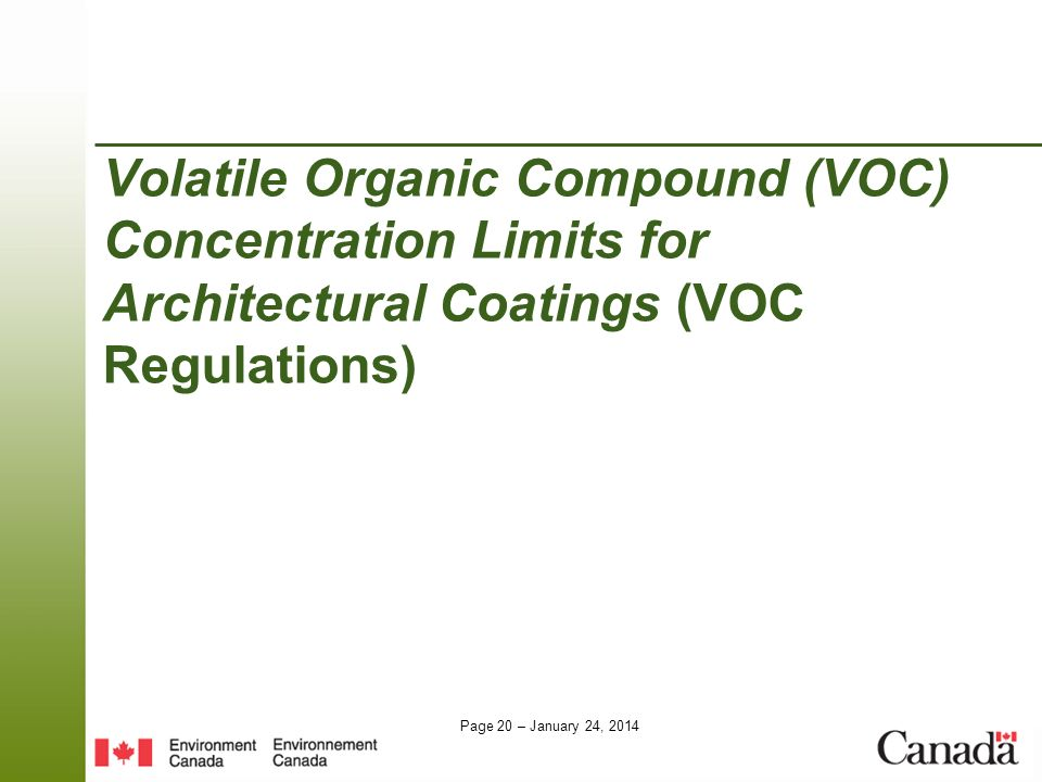 Volatile Organic Compound (VOC) Concentration Limits for Architectural Coatings (VOC Regulations)