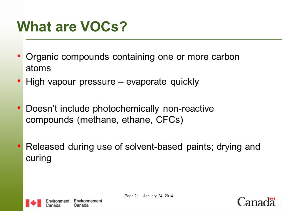 What are VOCs Organic compounds containing one or more carbon atoms