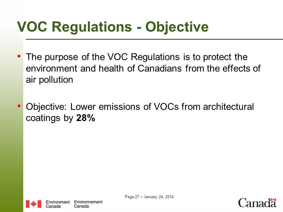VOC Regulations - Objective