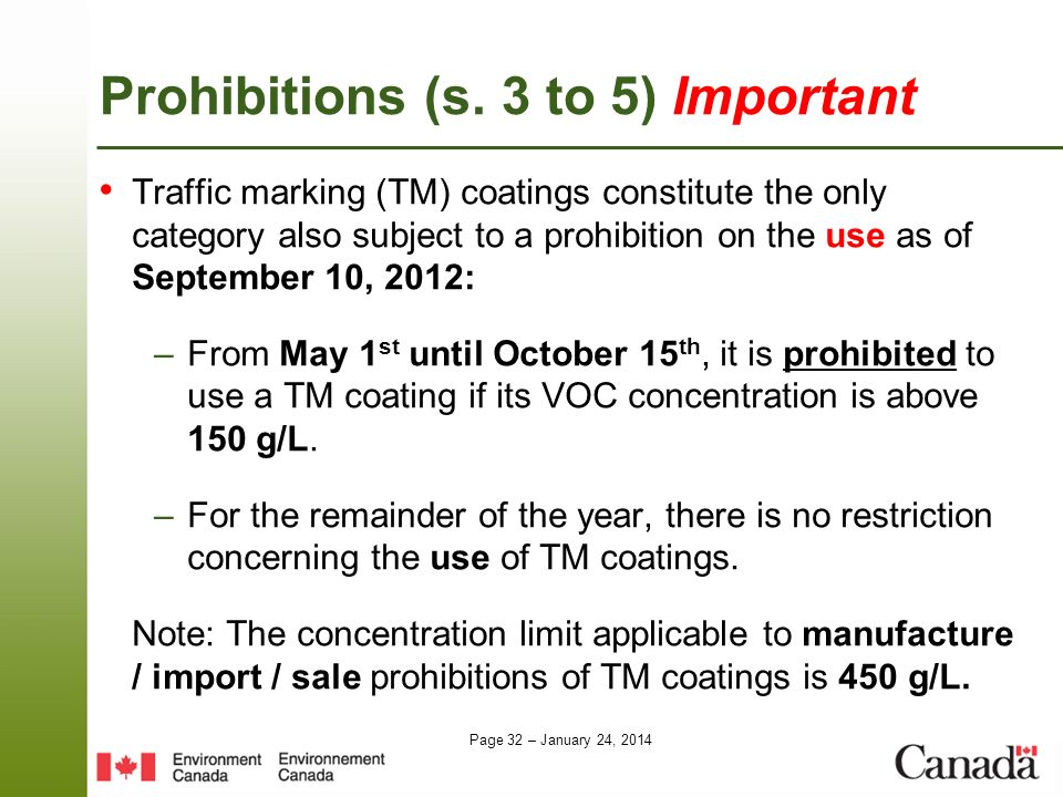 Prohibitions (s. 3 to 5) Important