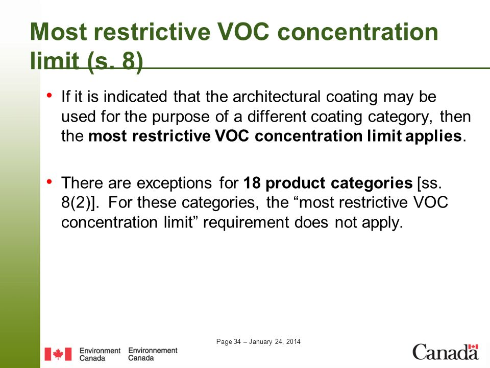 Most restrictive VOC concentration limit (s. 8)