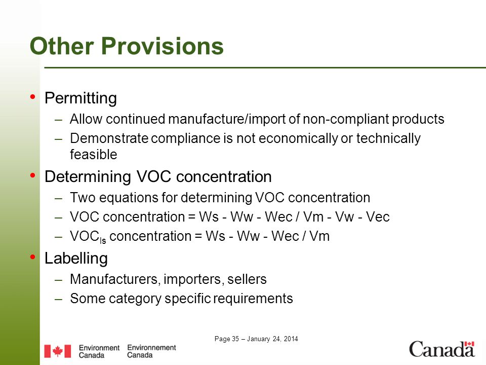 Other Provisions Permitting Determining VOC concentration Labelling