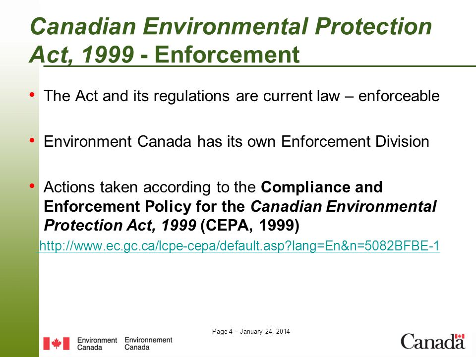 Canadian Environmental Protection Act, 1999 - Enforcement