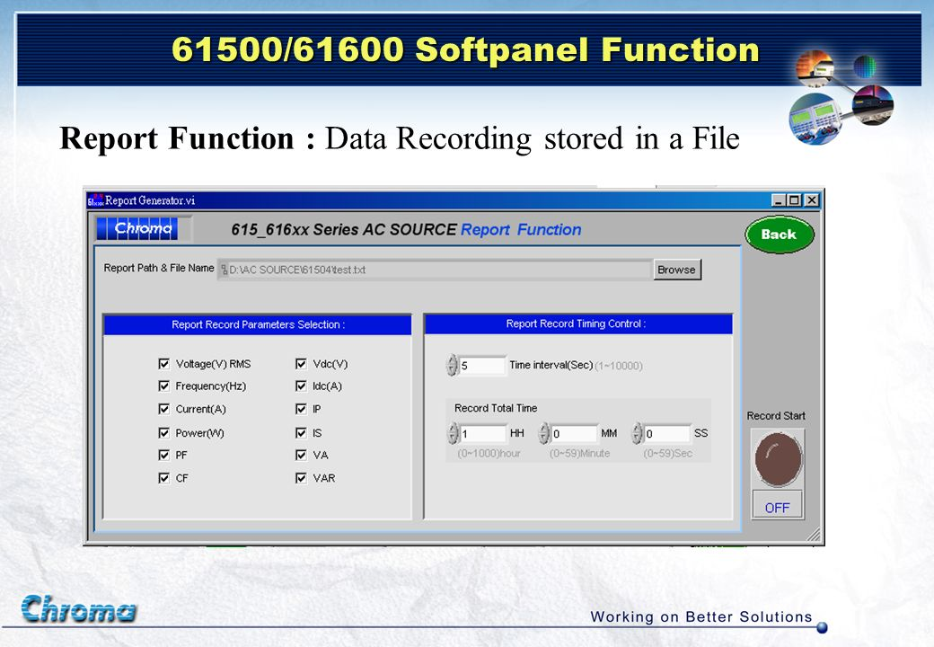 Report Function : Data Recording stored in a File