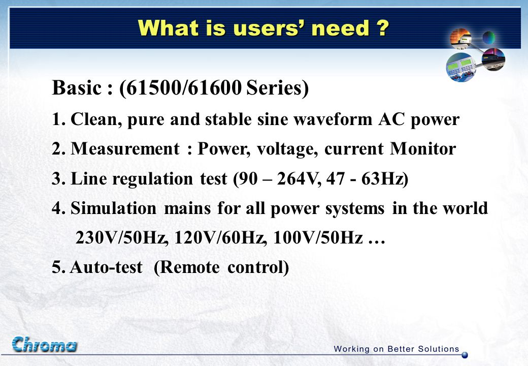 What is users' need Basic : (61500/61600 Series)