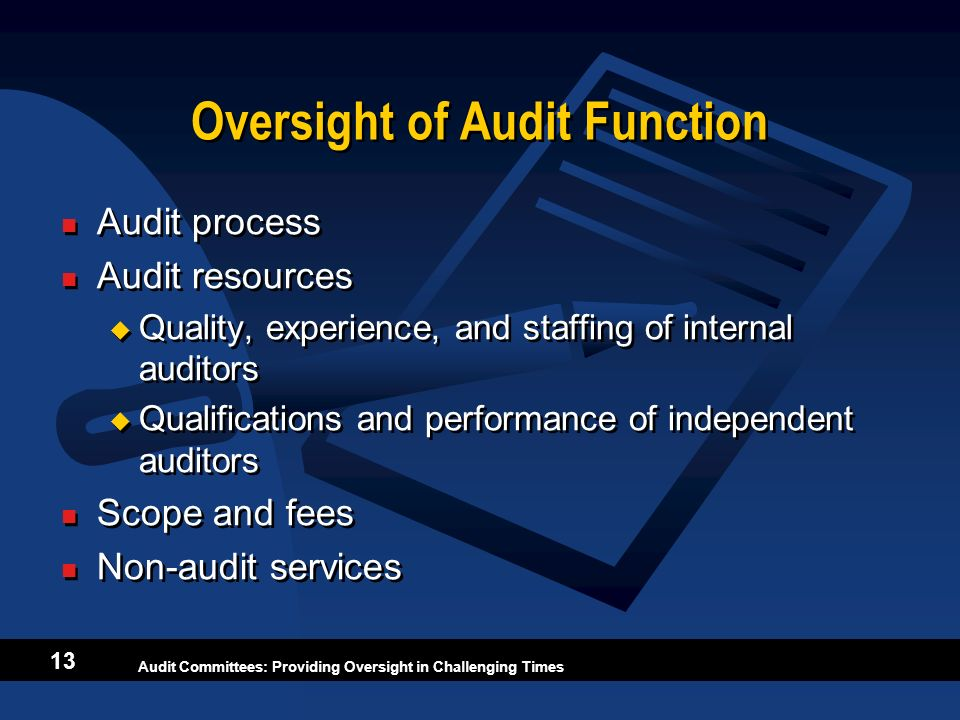Oversight of Audit Function