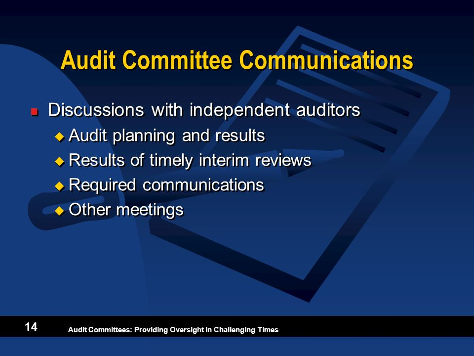 Audit Committee Communications