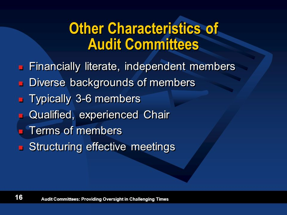 Other Characteristics of Audit Committees