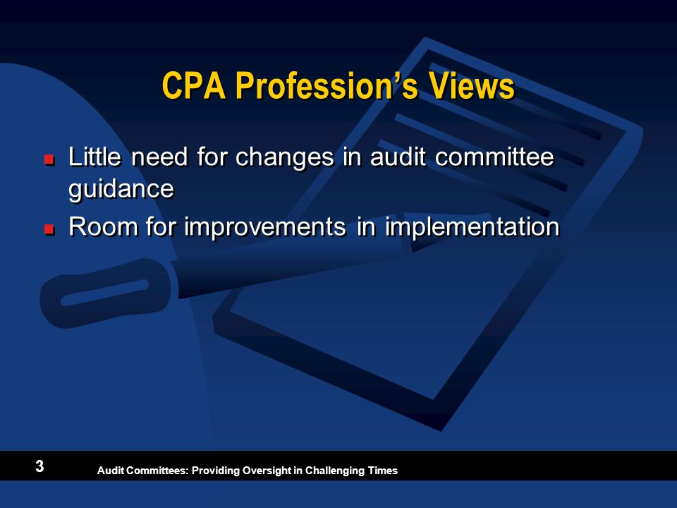CPA Profession's Views