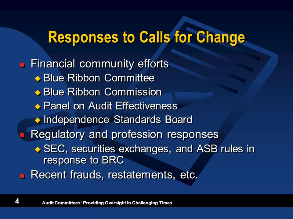 Responses to Calls for Change