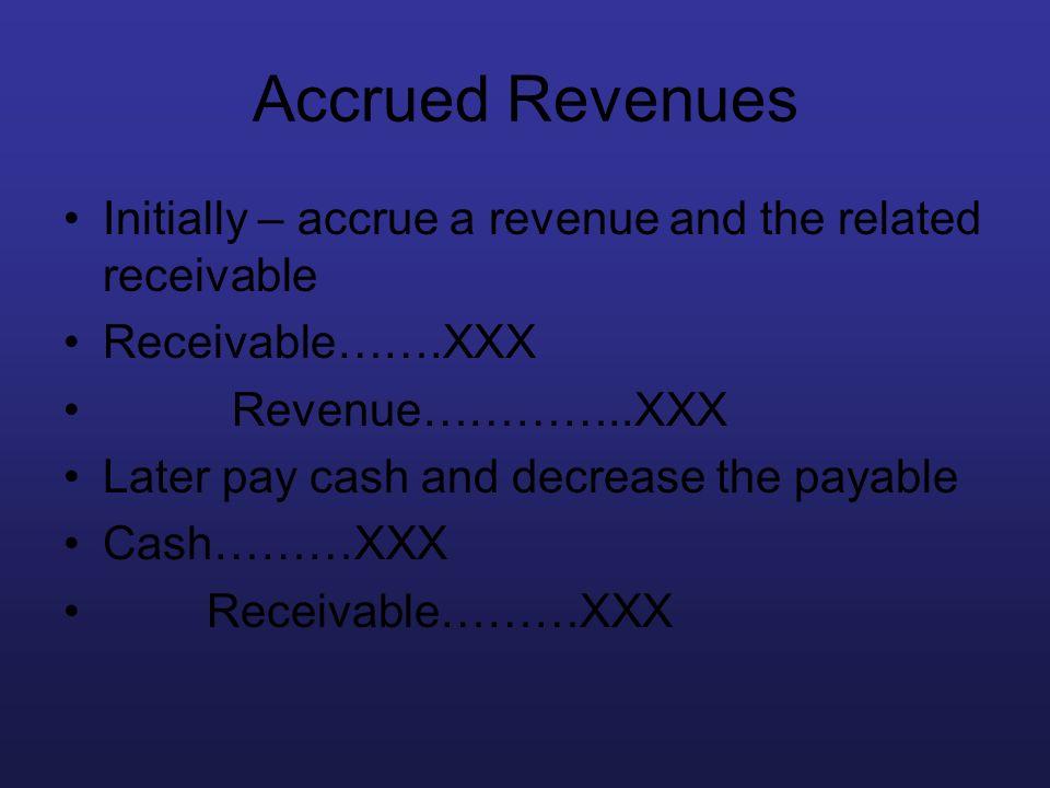 Accrued Revenues Initially – accrue a revenue and the related receivable. Receivable…….XXX. Revenue…………..XXX.