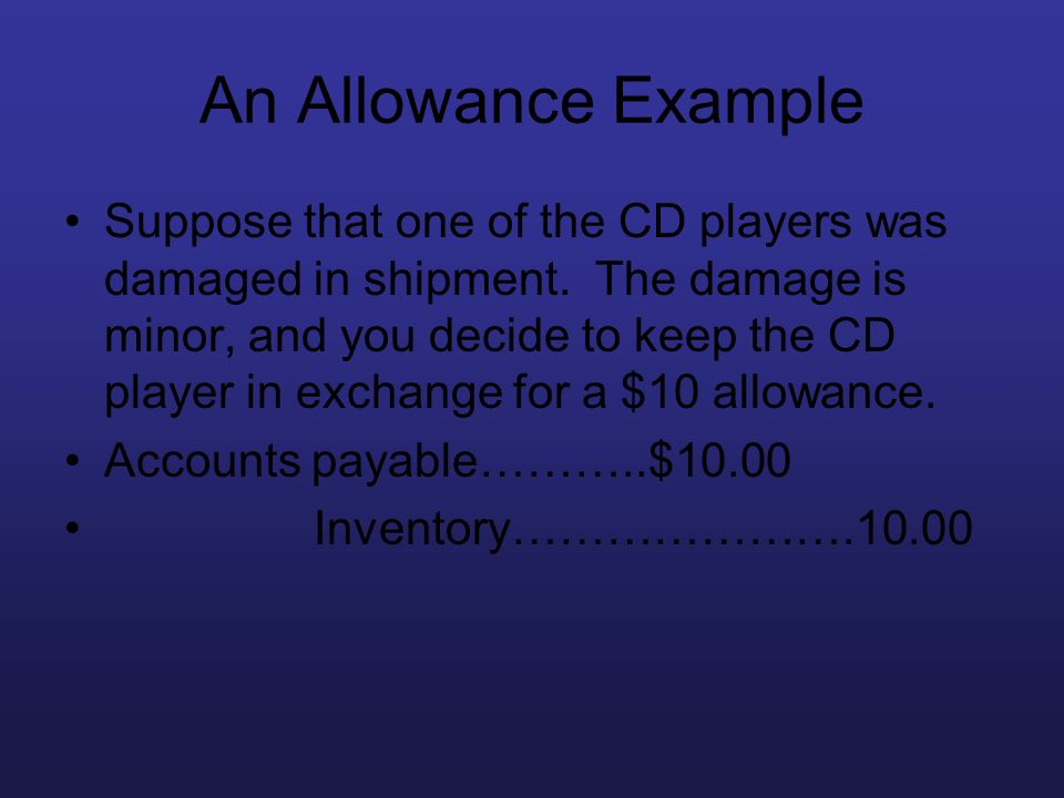 An Allowance Example