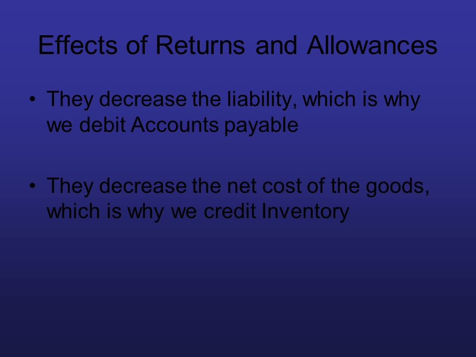 Effects of Returns and Allowances