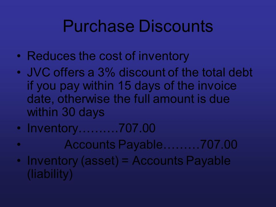 Purchase Discounts Reduces the cost of inventory