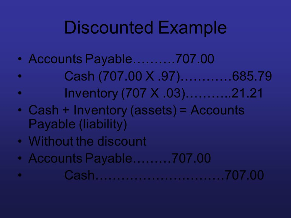 Discounted Example Accounts Payable……….707.00