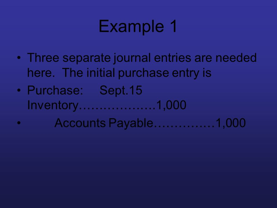 Example 1 Three separate journal entries are needed here. The initial purchase entry is. Purchase: Sept.15 Inventory……………….1,000.