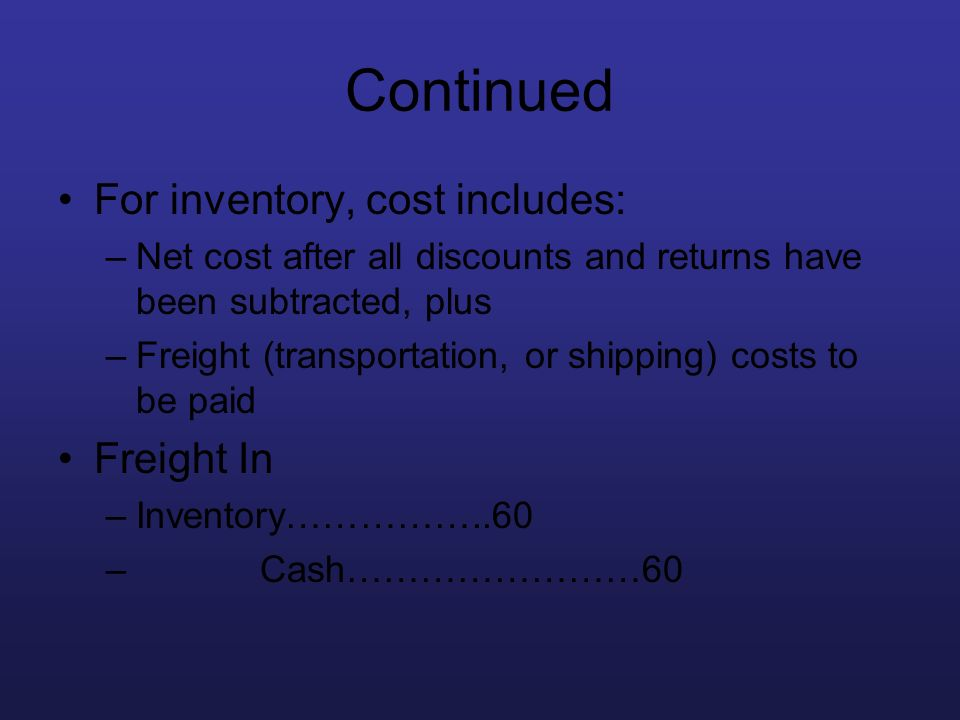 Continued For inventory, cost includes: Freight In