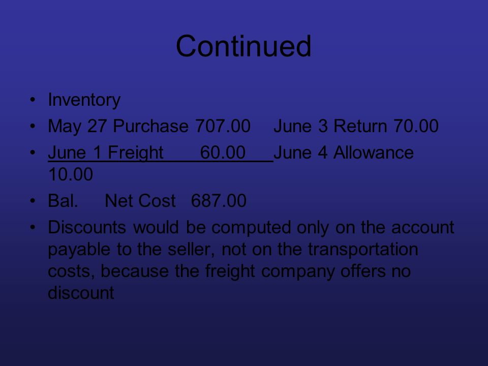 Continued Inventory May 27 Purchase 707.00 June 3 Return 70.00