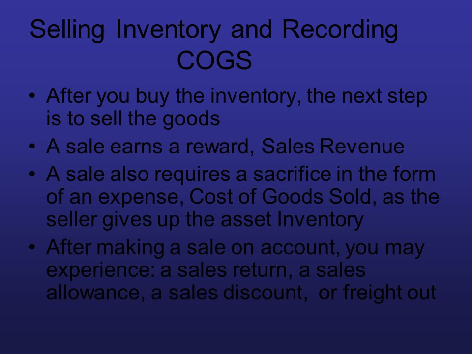 Selling Inventory and Recording COGS