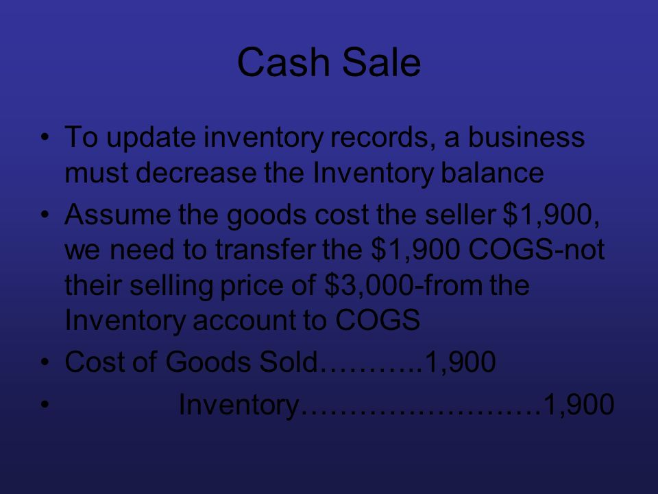 Cash Sale To update inventory records, a business must decrease the Inventory balance.