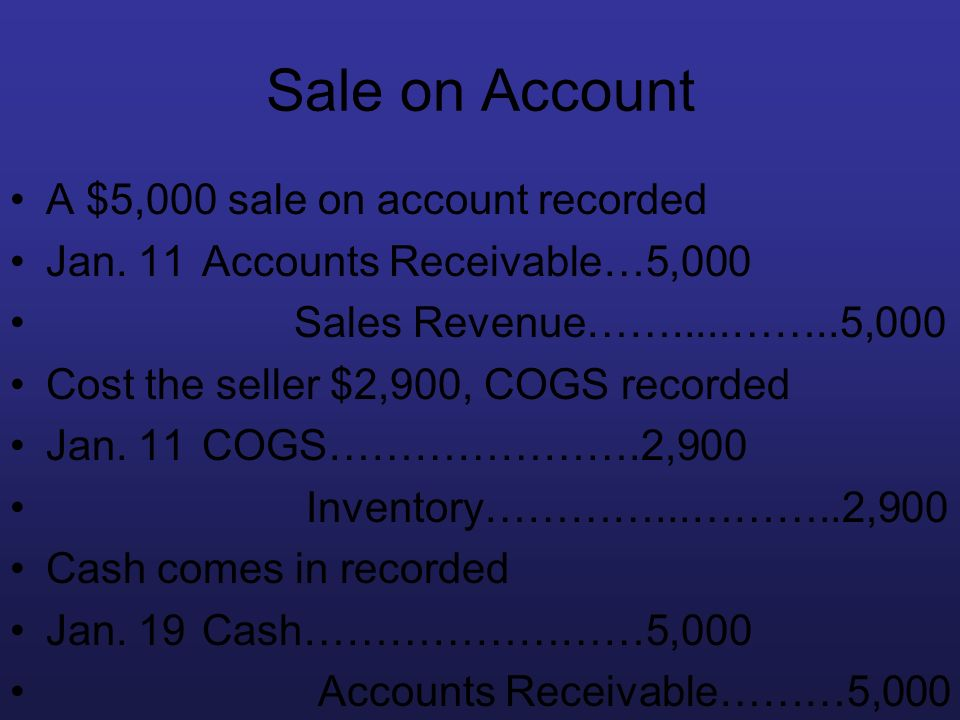Sale on Account A $5,000 sale on account recorded