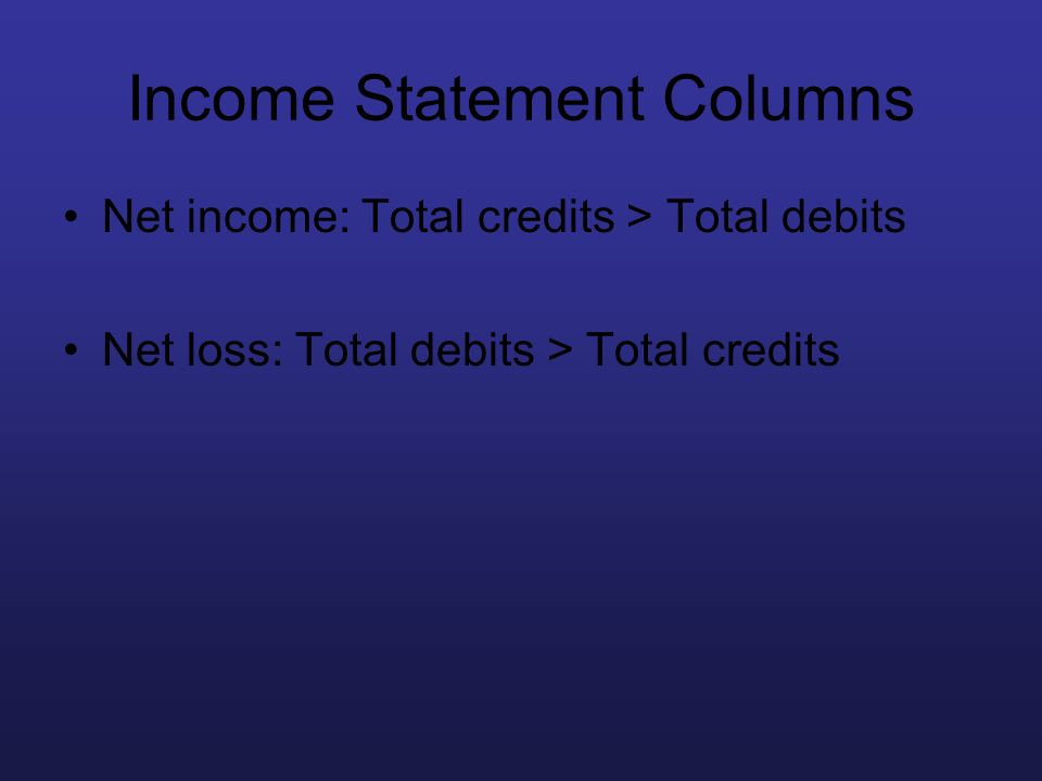 Income Statement Columns