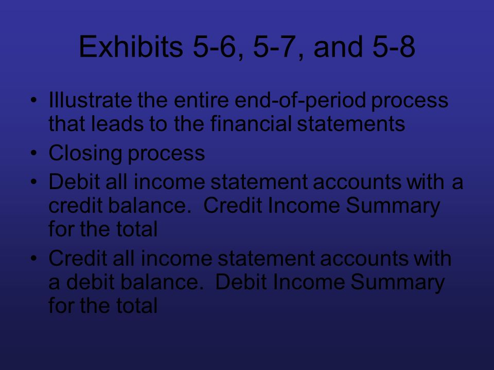 Exhibits 5-6, 5-7, and 5-8 Illustrate the entire end-of-period process that leads to the financial statements.