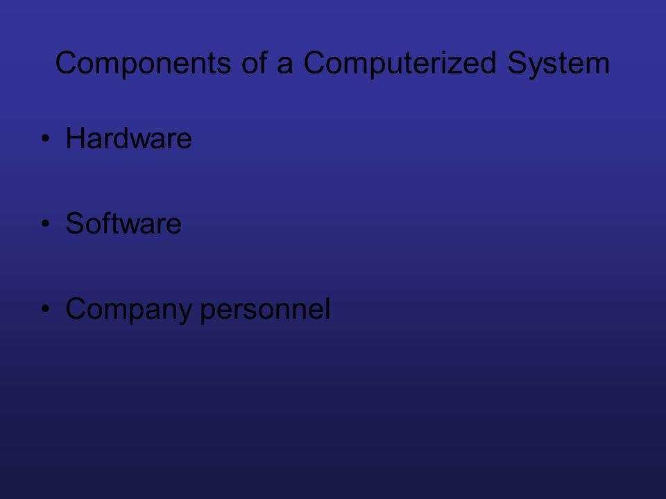 Components of a Computerized System