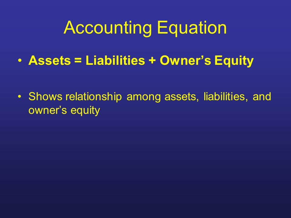 Accounting Equation Assets = Liabilities + Owner's Equity