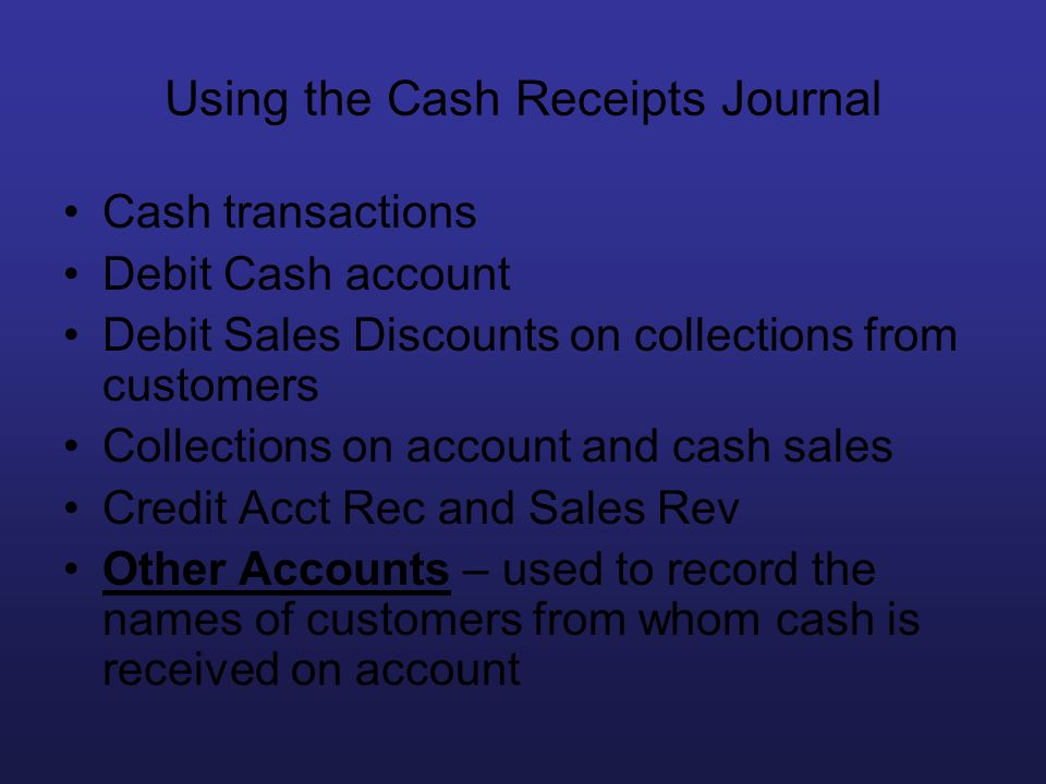 Using the Cash Receipts Journal