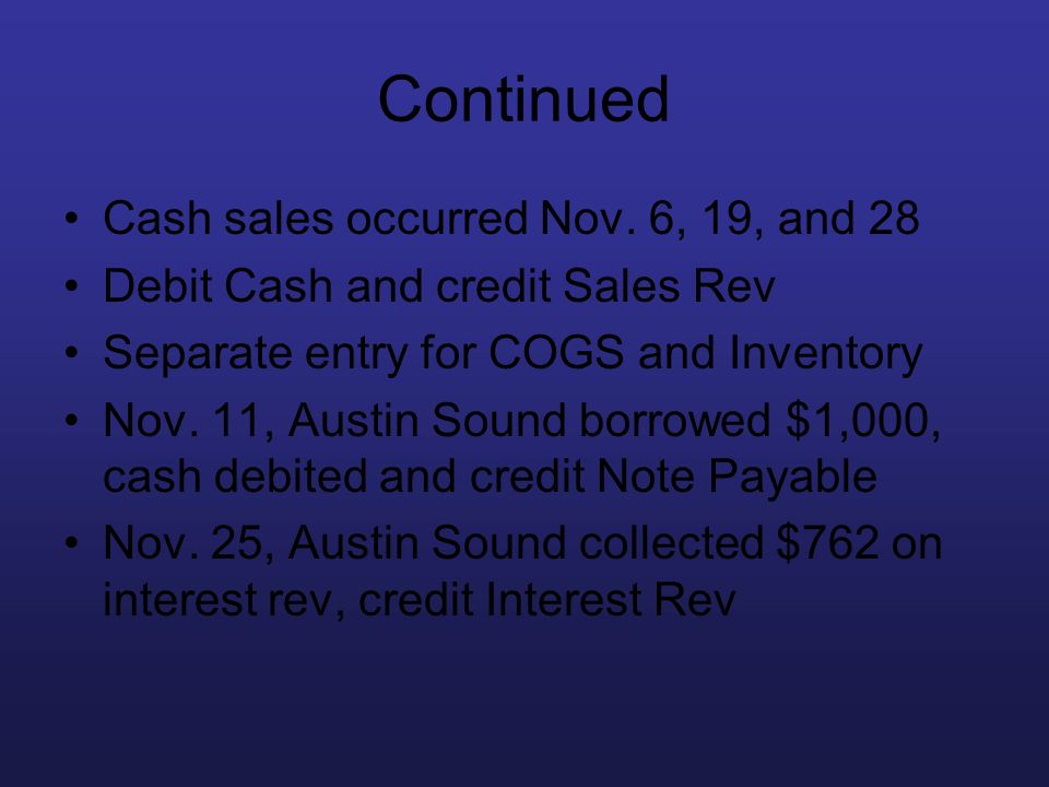 Continued Cash sales occurred Nov. 6, 19, and 28