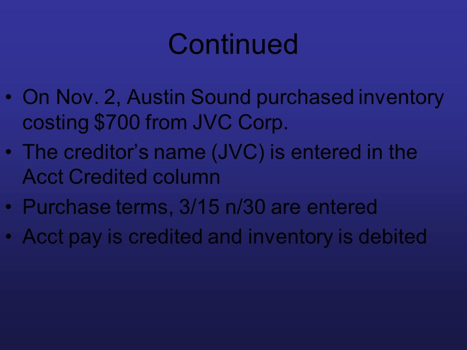Continued On Nov. 2, Austin Sound purchased inventory costing $700 from JVC Corp. The creditor's name (JVC) is entered in the Acct Credited column.