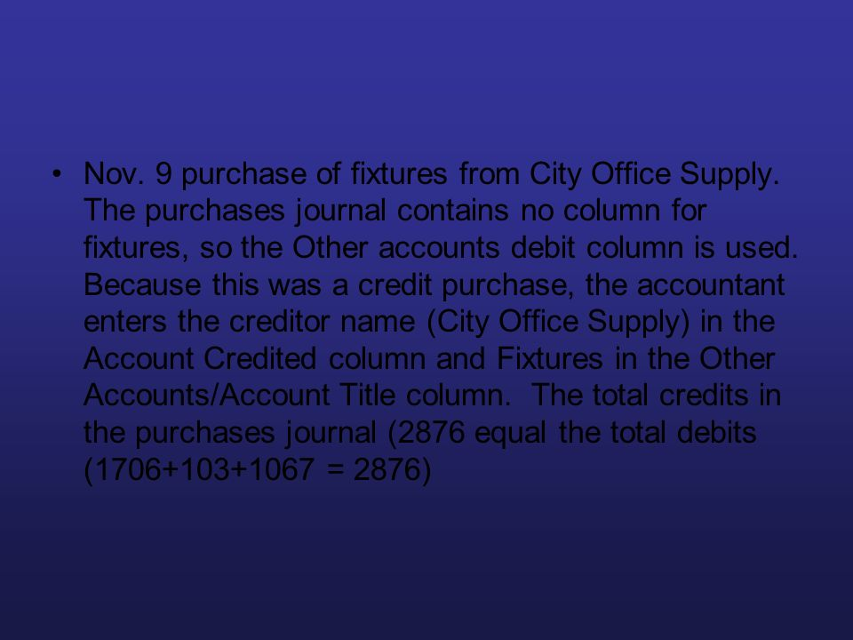 Nov. 9 purchase of fixtures from City Office Supply