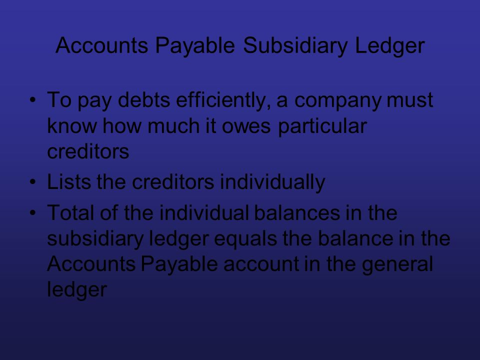 Accounts Payable Subsidiary Ledger