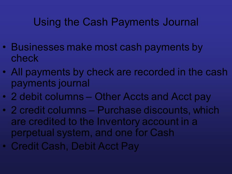 Using the Cash Payments Journal