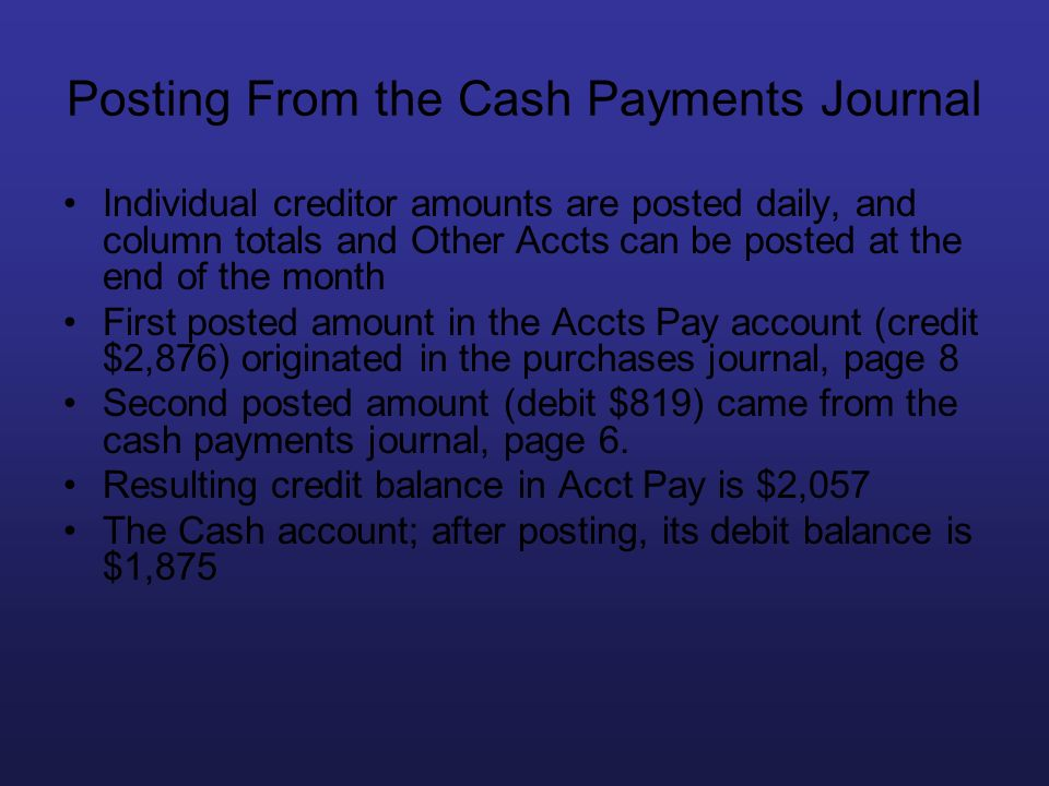 Posting From the Cash Payments Journal