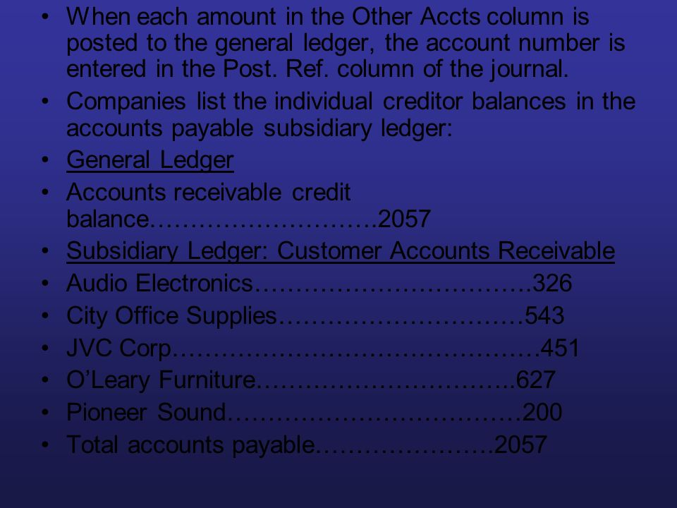 When each amount in the Other Accts column is posted to the general ledger, the account number is entered in the Post. Ref. column of the journal.