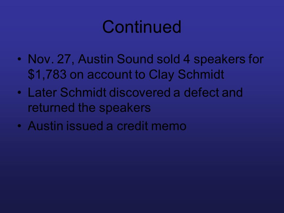Continued Nov. 27, Austin Sound sold 4 speakers for $1,783 on account to Clay Schmidt. Later Schmidt discovered a defect and returned the speakers.