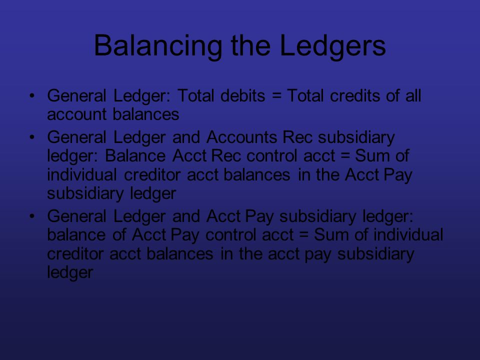 Balancing the Ledgers General Ledger: Total debits = Total credits of all account balances.