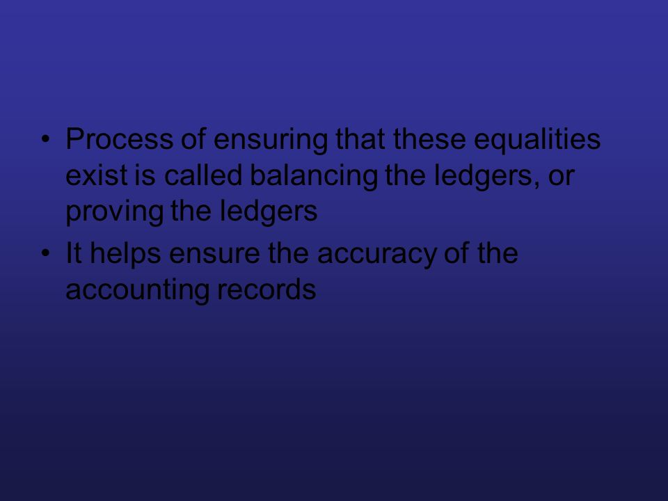 Process of ensuring that these equalities exist is called balancing the ledgers, or proving the ledgers
