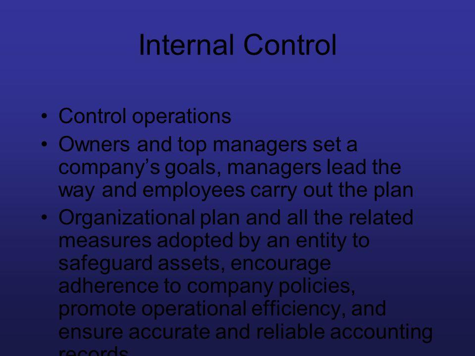 Internal Control Control operations