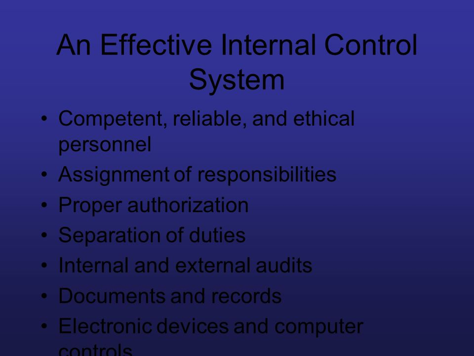 An Effective Internal Control System