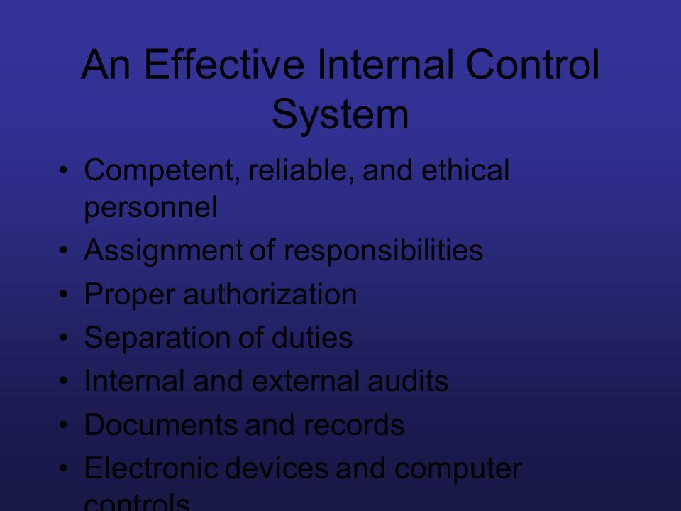 An Effective Internal Control System