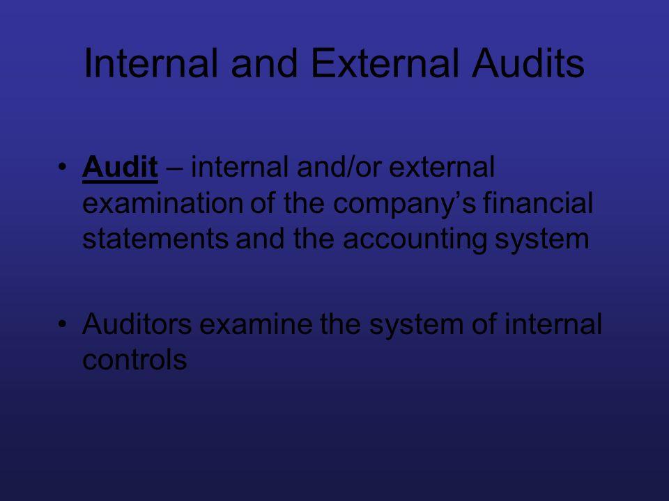 Internal and External Audits